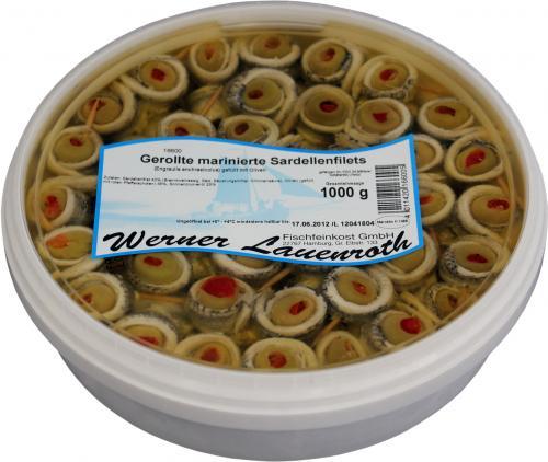 Gerollte marinierte Sardellenfilets