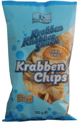 Krabben Chips Thai-Chili 100g gebacken in Rapsöl
